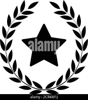 Couronne Laurel avec icône en forme d'étoile, emblème Banque D'Images