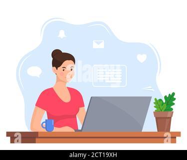 Jeune femme travaillant sur un ordinateur portable au bureau à domicile. Travailleur indépendant au travail, travail à distance. Jeune femme assise à un bureau avec un ordinateur portable et une tasse de café. Style plat