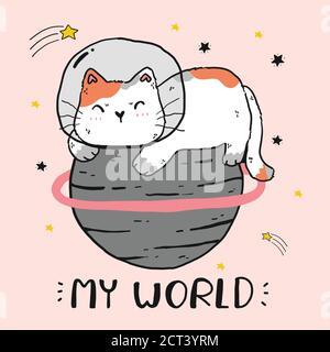 mignon gros chat assis sur le monde, le monde de chat, mon monde, drôle chat clip art pour l'autocollant, sublimation, carte de voeux, autocollant, imprimable numérique