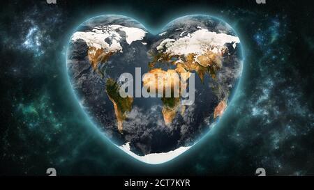 Une planète Terre en forme de cœur sur un fond d'espace extra-atmosphérique. Aimer et respecter le monde, l'écologie, les concepts d'astronomie. Textures de terre fournies par la NASA. Banque D'Images