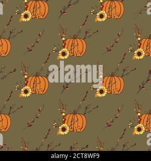 Motif d'automne avec citrouilles orange. Motif Thanksgiving. Composition d'automne Banque D'Images