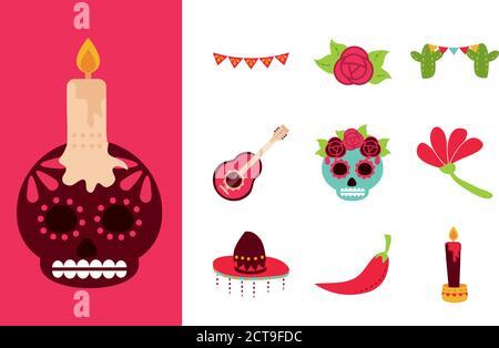 jour des morts, célébration mexicaine icônes traditionnelles illustration vectorielle de style plat Banque D'Images
