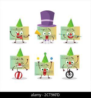 Personnage de dessin animé de stimusus vérifier avec divers spectacles de cirque Banque D'Images