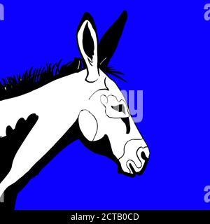 dessin de l'âne sur fond bleu. Élections 2020. Parti démocratique.