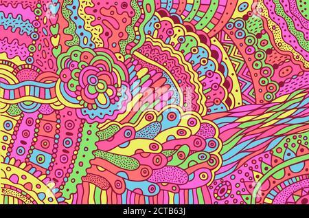 Motif surréaliste d'un chien psychédélique coloré. Arrière-plan avec motifs floraux abstraits. Texture boho éclatante. Répétition d'angle Z. Vecteur