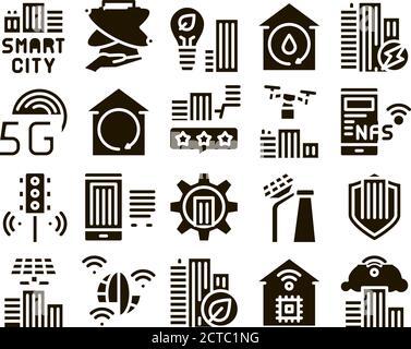 Smart City Technology Glyph Set Vector Banque D'Images