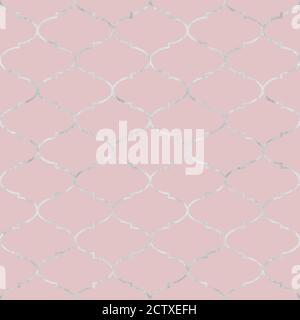 Ligne argentée vintage décorative sans couture marocaine. Texture étincelante et sans fin en métal sur fond rose. Éléments géométriques orientaux. PRI