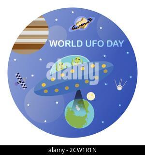 Image vectorielle pour la journée internationale des OVNIS. Une image plate d'une soucoupe volante avec des étrangers qui veulent voler quelque chose de la planète Terre. Une illustration amusante avec un thème d'espace. Banque D'Images