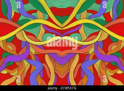 Motif psychédélique symétrique abstrait coloré avec lignes lumineuses complexes.