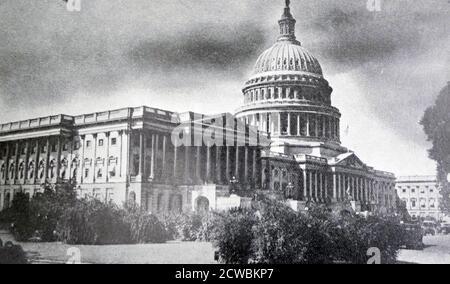 Photo en noir et blanc du bâtiment du Capitole à Washington, DC, où se trouvent la Chambre des représentants et le Sénat américain.