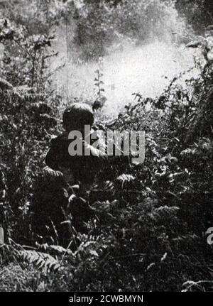 Photographie en noir et blanc de la Seconde Guerre mondiale (1939-1945); troupes britanniques combattant dans les broussailles et les forêts de la Birmanie.