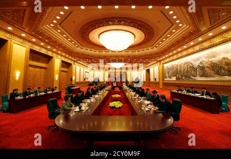South Korea's Prime Minister Kim Hwang-Sik sits opposite China's Premier Wen Jiabao during their meeting in the Great Hall of the People in Beijing April 13, 2011. Kim is on a four-day official visit to China.    REUTERS/David Gray    (CHINA - Tags: POLITICS)