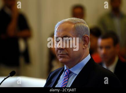 Israel's Prime Minister Benjamin Netanyahu is seen before testifying to a state-appointed inquiry into the Israeli naval raid on a Gaza aid flotilla, in Jerusalem August 9, 2010. Netanyahu on Monday told the inquiry that he could not 'afford to ignore a threat to Israel's existence'. REUTERS/Ronen Zvulun (JERUSALEM - Tags: POLITICS CIVIL UNREST)