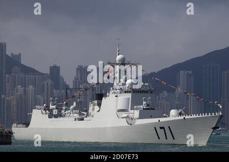 Chinese navy's guided missile destroyer Haikou (171) is seen at the Ngong Shuen Chau Naval Base in Hong Kong April 30, 2012. The destroyer is open to the public for three days, as part of a series of events celebrating the 15th anniversary of Hong Kong's handover to China. REUTERS/Tyrone Siu (CHINA - Tags: POLITICS MILITARY MARITIME)