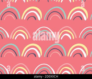 Boucles d'arc-en-ciel Doodle sur fond rose, motifs sans couture