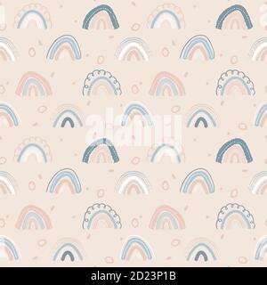 Noeuds en forme d'arc-en-ciel colorés, motif vectoriel sans coutures Banque D'Images