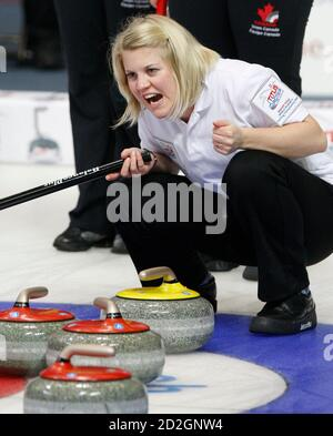 Norway lead Kristin Skaslien watches the line of a stone during play against Canada at the 2009 World Women's Curling Championship in Gangneung, east of Seoul March 23, 2009.  REUTERS/Lee Jae-Won (SOUTH KOREA) - Stock Photo