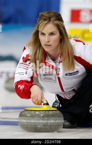 Canada skip Jennifer Jones is pictured during play against Scotland at the 2009 World Women's Curling Championship in Gangneung, east of Seoul March 23, 2009.  REUTERS/Lee Jae-Won (SOUTH KOREA SPORT CURLING) - Stock Photo