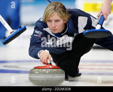 Scotland skip Eve Muirhead is pictured during play against Canada at the 2009 World Women's Curling Championship in Gangneung, east of Seoul March 23, 2009.  REUTERS/Lee Jae-Won (SOUTH KOREA SPORT CURLING) - Stock Photo