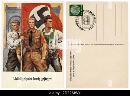 Carte postale historique allemande : 15e anniversaire du putsch de la Beer Hall, résident du Sudetenland, sa Fighter, autrichienne avec un drapeau de la swastika, 1938