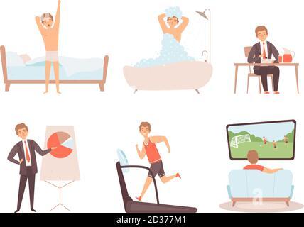 Homme quotidien. Homme d'affaires jour matin soir quotidien style de vie personnages vectoriels