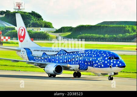 Japan Transocean Air, JTA, Boeing B-737/400, JA8939, Blue Whaleshark, taxi After Landing, aéroport de Naha, Naha, Okinawa, îles Ryukyu, Japon