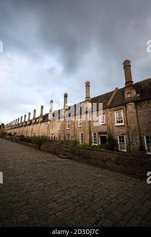 Maisons sur Vicar's Close à Wells, Somerset la plus ancienne rue purement résidentielle d'Europe.