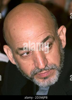 Afghanistan's interim leader Hamid Karzai looks on during a meeting with the Russian [Foreign Minister Igor Ivanov] in Moscow, March 12, 2002. [Karzai is due to meet Russian President Vladimir Putin later on Tuesday.]