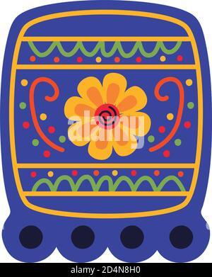 guirlande carrée de fête mexicaine avec fleur plate style icône vecteur conception de l'illustration Banque D'Images