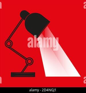 Lampe de table Vector illustration plate avec arbres de lumière- isolé sur fond rouge.