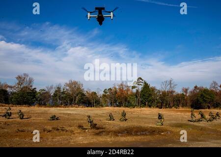 Marines des États-Unis avec le premier Bataillon, 25ème Régiment de marine, actuellement affecté au 4ème Régiment de Marine, 3ème Division de Marine, dans le cadre du Programme de déploiement de l'unité, Et Les Soldats du 8ème Régiment d'infanterie, Force d'autodéfense du sol du Japon, conduisent un insert via MV-22 B Osprey avec Escadron Tiltrotor 262, dans le cadre d'un événement de force sur la force à la Forest Light Middle Army dans la zone d'entraînement d'Aibano, Shiga, Japon, 10 décembre 2019. Forest Light Middle Army est un exercice d'entraînement annuel conçu pour renforcer les capacités de défense collective de l'Alliance des États-Unis et du Japon