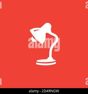 Icône de lampe de table sur fond rouge. Illustration du vecteur de style plat rouge.