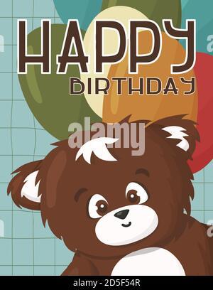 Ours brun le grizzli souhaite un joyeux anniversaire et a beaucoup de ballons verts, rouges, bleus et or