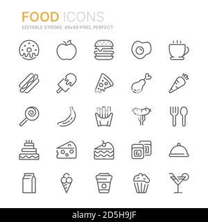 Collection d'icônes relatives aux produits alimentaires. 48x48 Pixel Perfect. Contour modifiable