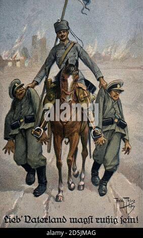 Carte postale rétro de propagande allemande. Lieb' Vaterland magst ruhig sein! (Cher Motherland peut être calme!). Hussar allemand avec deux militaires russes à l'est
