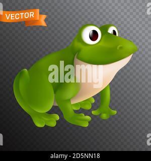 Personnage de grenouille de dessin animé vert avec les grands yeux assis et souriant. Illustration vectorielle isolée sur un arrière-plan transparent Banque D'Images