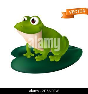 Grenouille de dessin animé verte avec de grands yeux assis sur une feuille de Lily d'eau verte. Illustration vectorielle isolée sur fond blanc Banque D'Images