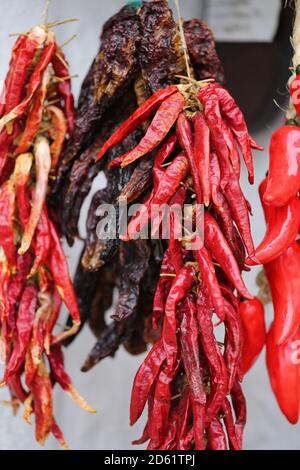 Bouquet de poivrons rouges de lanterne au piment. Une pile de poivrons rouges est suspendue sur un stand de marché. Poivron rouge séché accroché au mur
