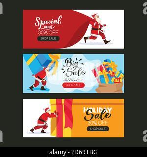 Ensemble d'affiches de Noël ou du nouvel an avec Père Noël, grand sac et boîtes-cadeaux. Illustration de dessin animé à plan vectoriel. Modèle de bannière de vente de vacances wi Banque D'Images