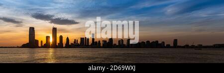 New Jersey Skyline bâtiment silhouette USA Sunset Panorama.