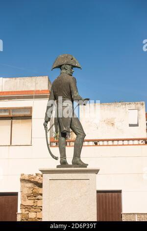 Statue du général Francisco de Copons dans le centre de Tarifa, Costa de la luz, Andalousie, Espagne.