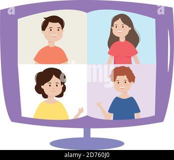 ordinateur de réunion en ligne personnes connectées, illustration vectorielle d'activité en intérieur