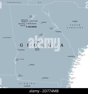 Géorgie, GA, carte politique grise avec la capitale Atlanta et les plus grandes villes. Dans la région sud-est des États-Unis d'Amérique. Banque D'Images