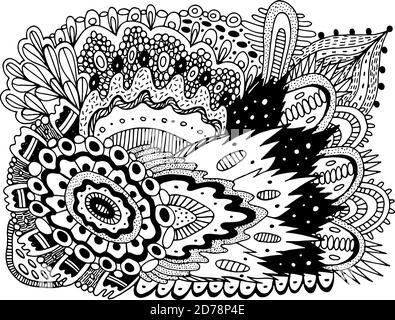 Motif de croque-croquant pour le livre de coloriage pour adultes. Page de coloriage avec motifs floraux. Texture psychédélique. Répétition d'angle Z. Illustration vectorielle
