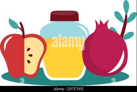miel dans un pot avec pomme et grenade motif vectoriel Banque D'Images