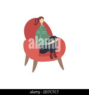 Bonne jeune femme assise sur une chaise. Confortable maison de repos. Illustration vectorielle plate dessinée à la main