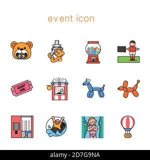 Ensemble de carnaval, fête, anniversaire icônes de style plat illustration 006