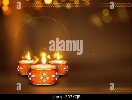 Huile décorative de diya brûlante sur le fond de vacances heureux Diwali pour Festival de lumière de l'Inde Banque D'Images