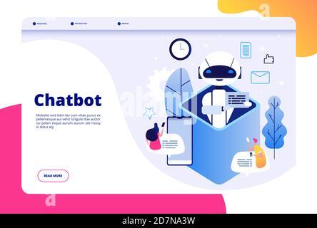 Concept Chatbot. Chat avec android femme homme parlant avec le téléphone mobile pour ai application bots aider humain future page de vecteur de technologie. Illustration de l'aide robot d'ai, le bot mobile et le service de chat Banque D'Images