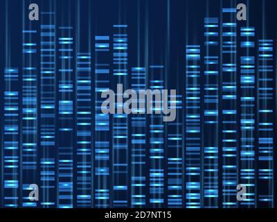 Visualisation des données génomiques. Séquence du génome de l'ADN, carte génétique médicale. Arrière-plan du vecteur de code-barres généalogique Illustration de la visualisation de l'adn, de la texture génétique et généalogique